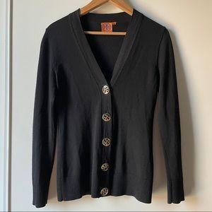 Tory Burch black merino wool v neck cardigan XS